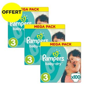COUCHE LAVABLE PAMPERS Baby Dry Taille 3 - 300 couches - Format M