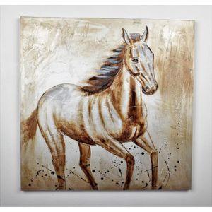 TABLEAU - TOILE Tableau déco Cheval - Peint à la main - 80x80x3cm