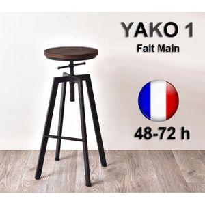 Lot De 2 Tabourets De Bar Réglable Design Luxe Loft Style Industriel
