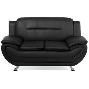Canape Simili Cuir Places Noir Achat Vente Pas Cher - Canapé simili cuir noir