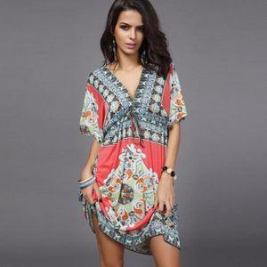 ROBE Kingwing® robe d'été femmes Robe florale plage ...