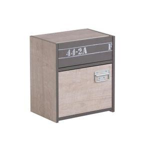 CHEVET NOA Chevet industriel gris loft et gris ombre - L