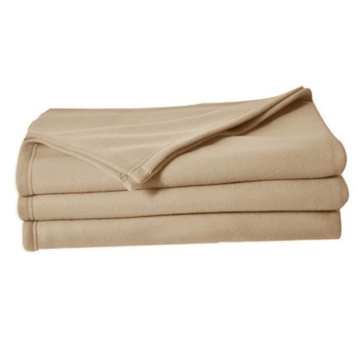 Couverture polaire Polfirst - 100% polyester 250g/m² - Sable - 150 x 220 cmCOUVERTURE - EDREDON - PLAID