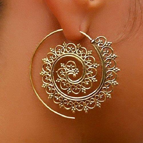Womens Brass Earrings - Brass Spiral Earrings - Tribal Earrings - Gypsy Earrings - Ethnic Earrings GG0NM