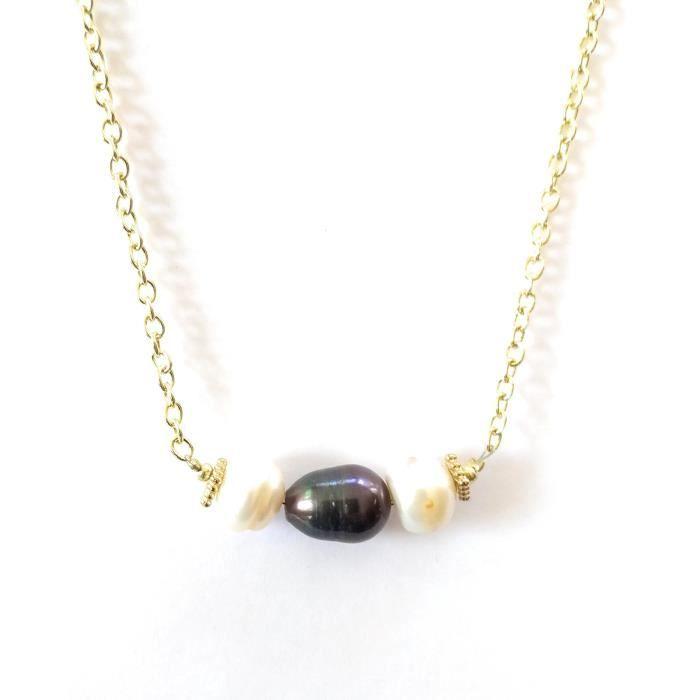 Black Les femmes et le collier Bar White Pearl Fashion 19 pouces J28WP