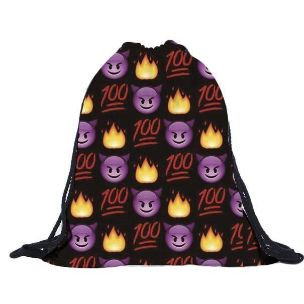 À Sacs ly 7320 Mignon Unisexe Impression Créatif Backpack Emoji 3d Belle Drawstring Dos Populaire f5wpw6xnqg