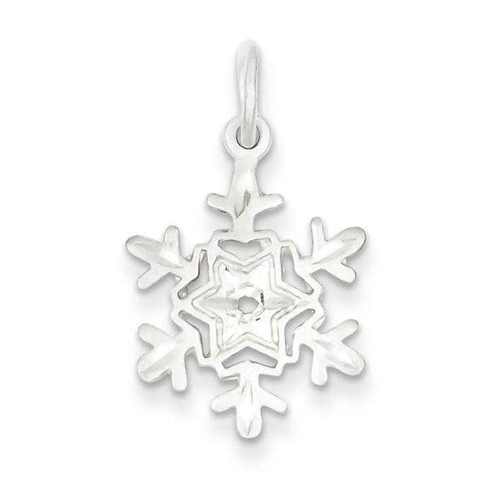 Argent Sterling de taille diamant en forme de flocon de neige