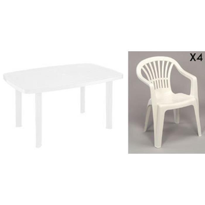 Table rectangulaire blanche + 4 fauteuils jardin plastique blanc empilables