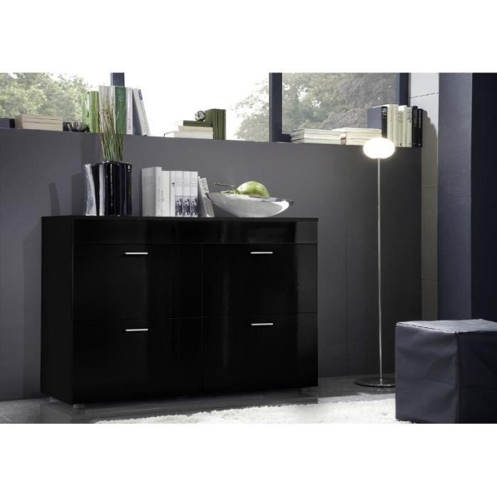 Commode design logo noir laqu brillante meuble 4 for Meuble commode design
