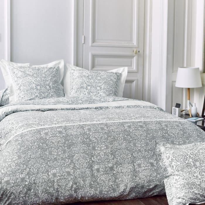 parure de lit 200x200 cm percale pur coton amboise gris 3 pi ces achat vente parure de drap. Black Bedroom Furniture Sets. Home Design Ideas