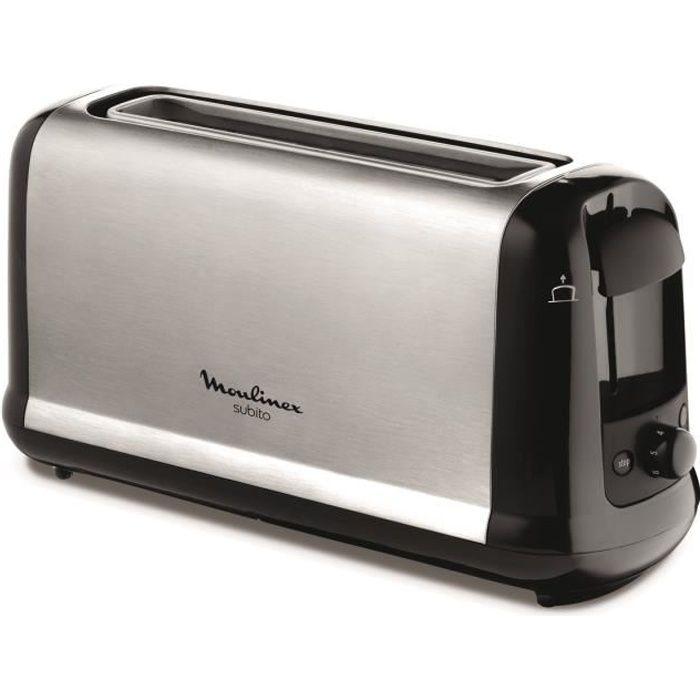 moulinex ls260800 grille pain subito inox et noir achat vente grille pain toaster. Black Bedroom Furniture Sets. Home Design Ideas