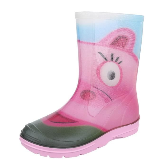 Chaussures pour enfants botte fille jeune chaussures de pluie caoutchouc rouge 34 DsS2K