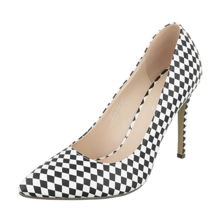 13fee8f618f9 Femme chaussures escarpin High Heels blanc noir 40 Blanc Blanc ...