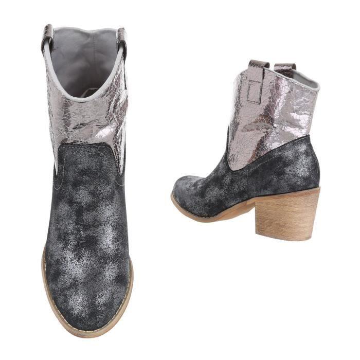 Chaussures femme bottine Western Style noir argent 41 5tstl
