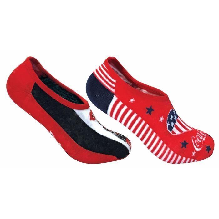 22a57433eca Coca Cola - 2 paires femme chaussettes rouges basses courtes invisibles