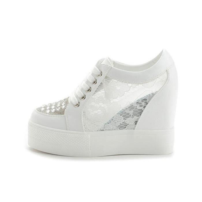 Chaussure femme dentelle Respirant Luxe couleur unie noir blanc Qualité Supérieure Talons hauts Plus Taille 35-40 yzx236