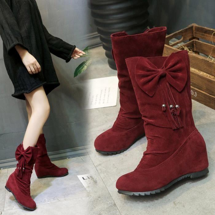 deuxsuns®Femmes Bottes Bowknot Gland Bottes d'Hiver Chaud Mi-mollet Bottes Hiver Chaussures