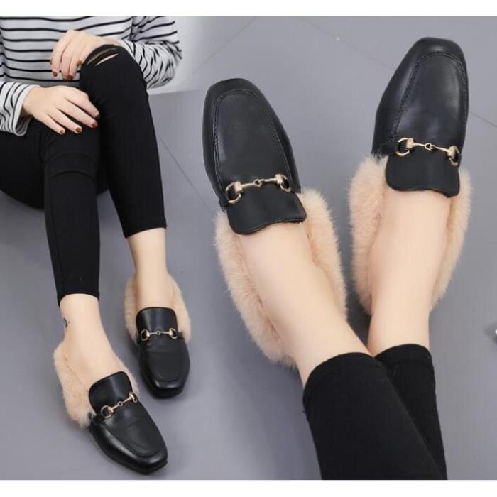 Mode femmes Chaussures de fourrure d'hiver Automne plat design en cuir Souliers simple, Chaussures De Fourrure Des Femmes