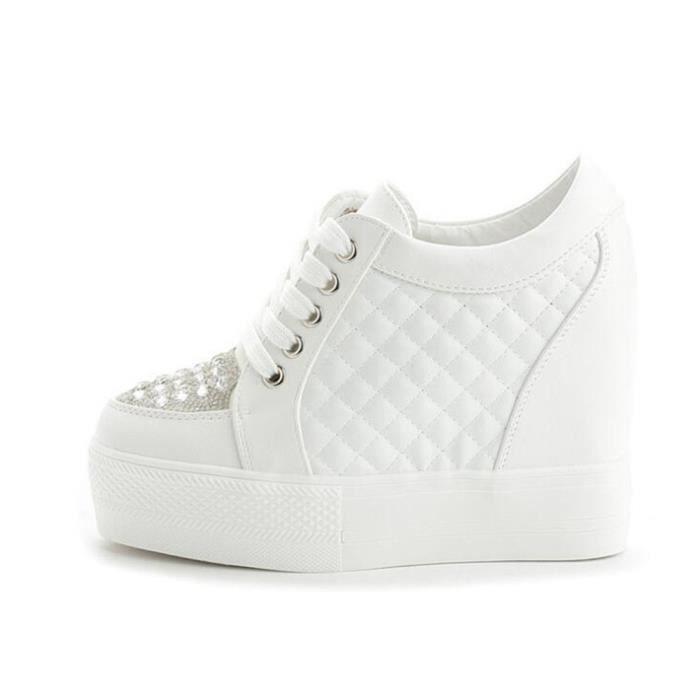 Chaussure Compensee Femme Basket Augmentation De La Hauteur Grande Taille Populaire BSMG-XZ111Blanc36
