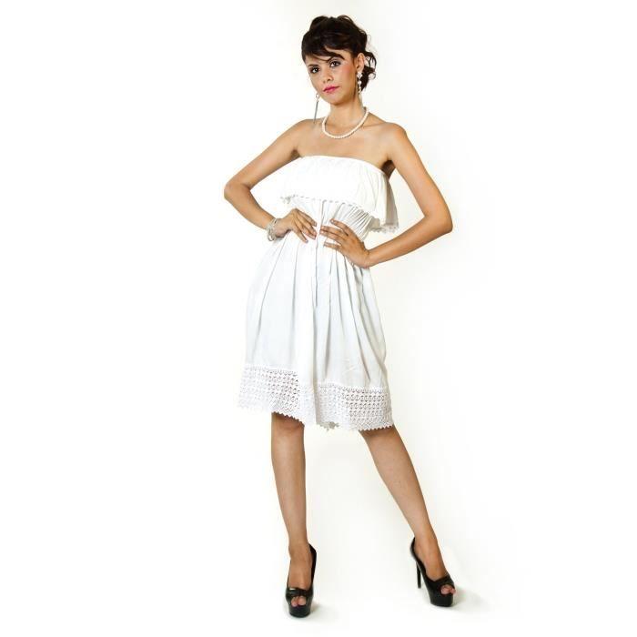 Blanc Femmes Crochet Dentelle Frills Tube Viscose Robe 1OE9S9 Taille-32