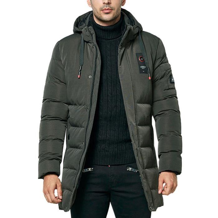 Zippée Fashion Coton Armée De Poche Longueur Manteau Hommes La Épaissie Verte Hoodie Medium Veste 1wnXHT