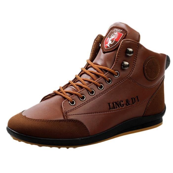 Bottes Vintage Shoes Marron Style Chaussures Casual Britannique Homme En Sport Cuir Yyf7gb6