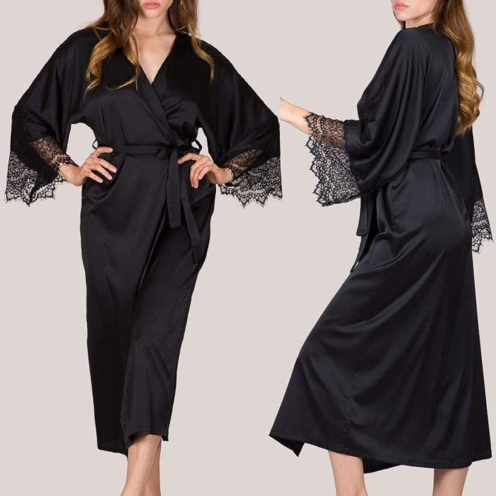 chaussures de sport 78ad8 da599 Les femmes sexy en satin noir Kimono Robe Peignoir Lingerie de nuit avec  ceinture pyjamasNoir