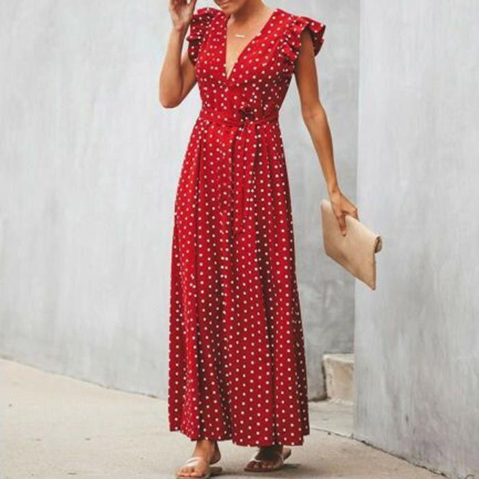 acheter pas cher la clientèle d'abord qualité fiable Femmes Boho robe longue sans manches à pois Ruffle Party V-cou Soirée Robe  Rouge
