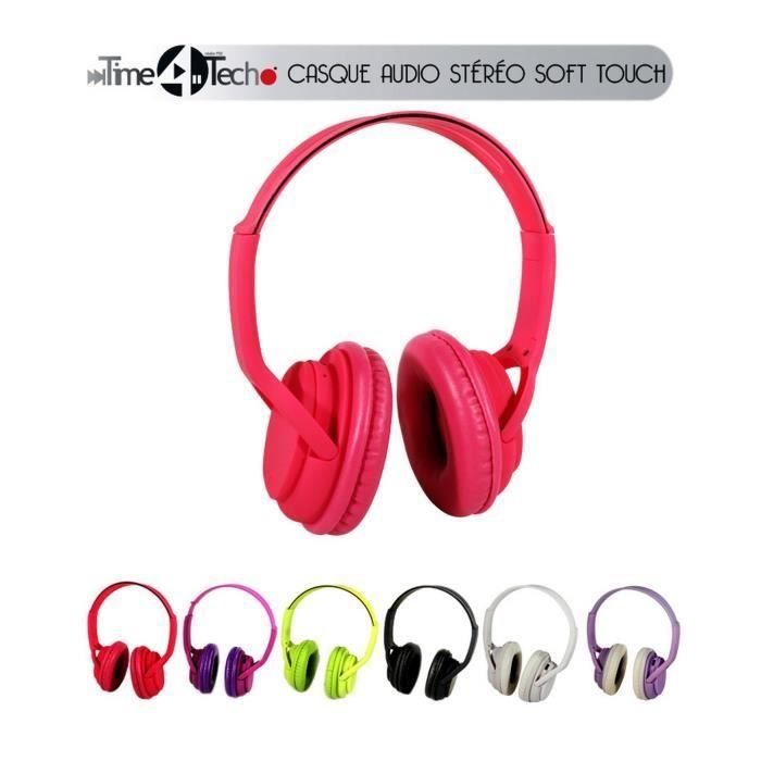 CASQUE - ÉCOUTEURS Casque audio stéréo .Toucher soft.Fiches Jack 3,5m
