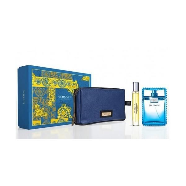 Set De Parfum Homme Eau Fraîche Versace Trousse De Toilette 3 Pcs