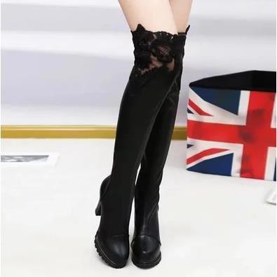 Bottes au genou à talons hauts bottes épaisses étendent avec des bottes en dentelle bottes imperméables, 39