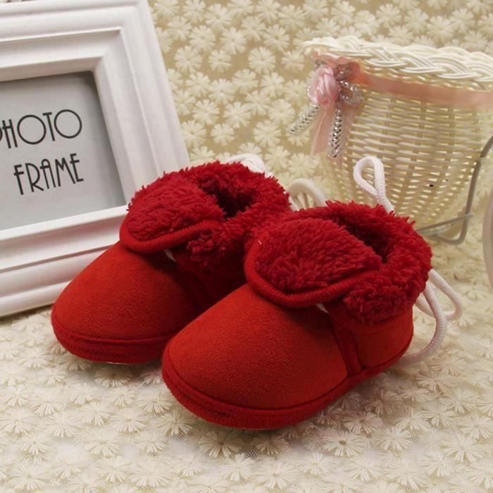 Tout-petits bébé nouveau-né solide semelles molles prémarcheur chaussures chaudes Bottes de neige rouge