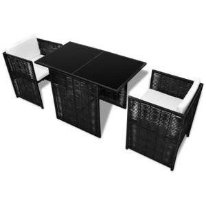 Salon de jardin en rotin noir - Achat / Vente Salon de jardin en ...