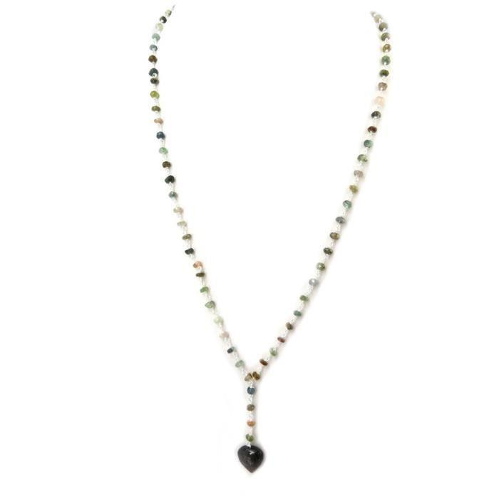 Parure artisanale Argent Mineralia multicolore (collier et boucles doreilles) love [P4080]