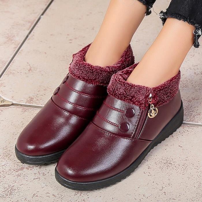 Be78166 Des Avec Femmes Zipper Bottines Classiques Plat Anti Chaussures Cuir slip En apqnH