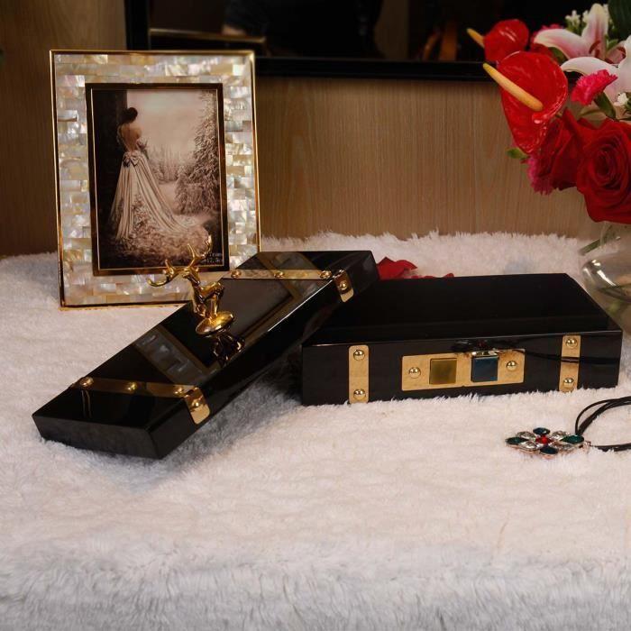 Boîte à Bijoux Rectangulaire (Or - Cerf) Boîtier de Rangement Anneau/Collier/boucles Cadeaux dAnniversaire pour Femme Velours Noir