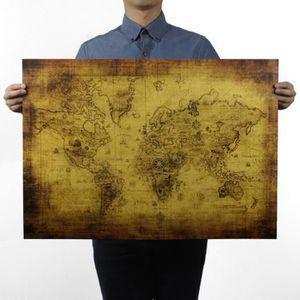 Trsor Carte Du Monde 725 X 515 Cm Kraft Papier Bar Affiche Rtro Peinture Dcorative