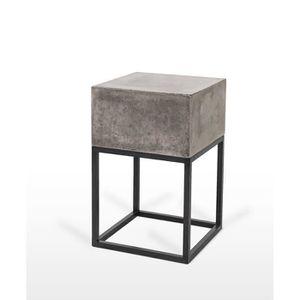 TABLE D'APPOINT Sellette en béton et métal - bout de canapé - tabl