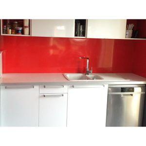 CREDENCE Crédence Aluminium Rouge H 30 cm x L 50 cm 1.5mm R