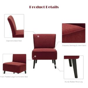 Ikayaa Fauteuil Design Moderne Assise Large Et Confortable Rouge