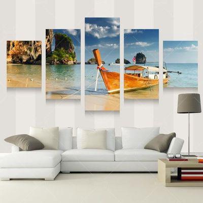 5 panneau paysage décoration mur salon moderne peinture mer peinture ...