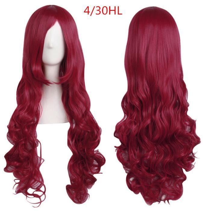 Perruque cosplqy 80cm ondulé rouge bordeaux