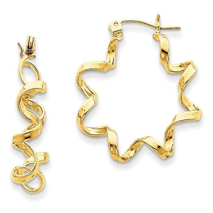 Déguisement de Boucles doreilles Créoles 14 carats-spirale