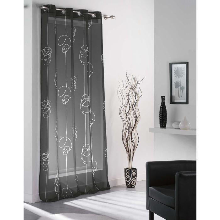 voilage oeillets looping noir achat vente voilage. Black Bedroom Furniture Sets. Home Design Ideas