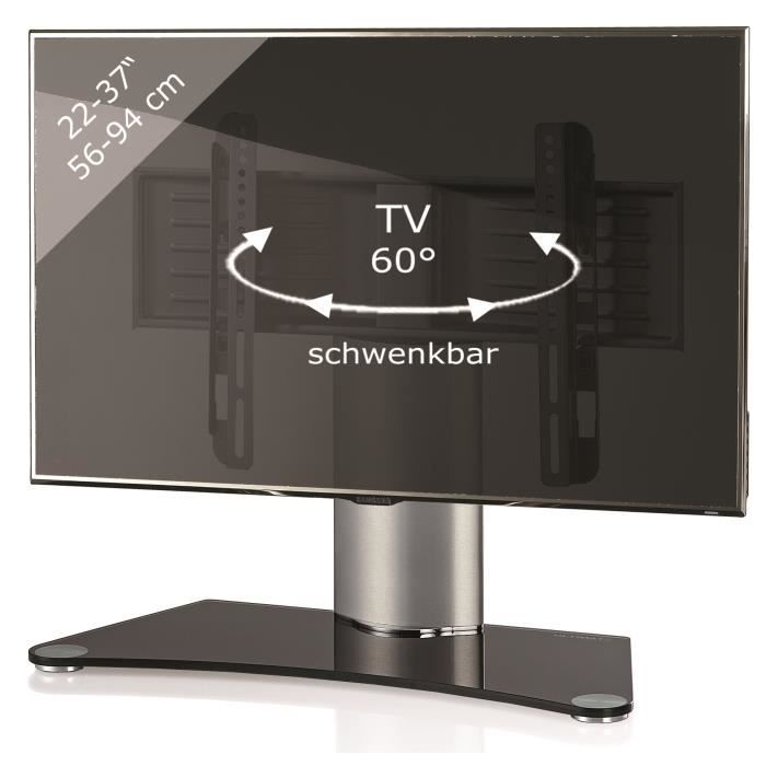 Windoxa Support Fixe Pour Tv Ecran Plat Verre Noir Pied Gris Achat