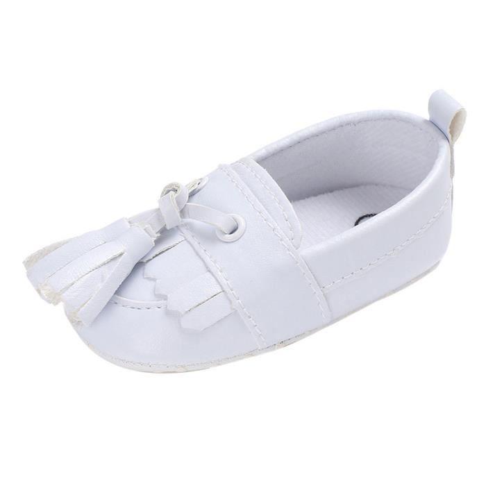BOTTE Chaussures de bébé garçon fille nouveau-né cuir crèche chaussures à semelle souple@Blanc fAN7FsTp