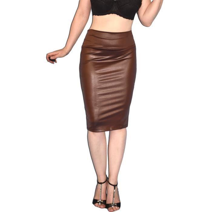 7c9a9111c17864 Slim Faux Jupe en cuir pour femmes en noir ou brun * * Sexy taille haute  Jupe crayon moyen 3M4CGO Taille-M