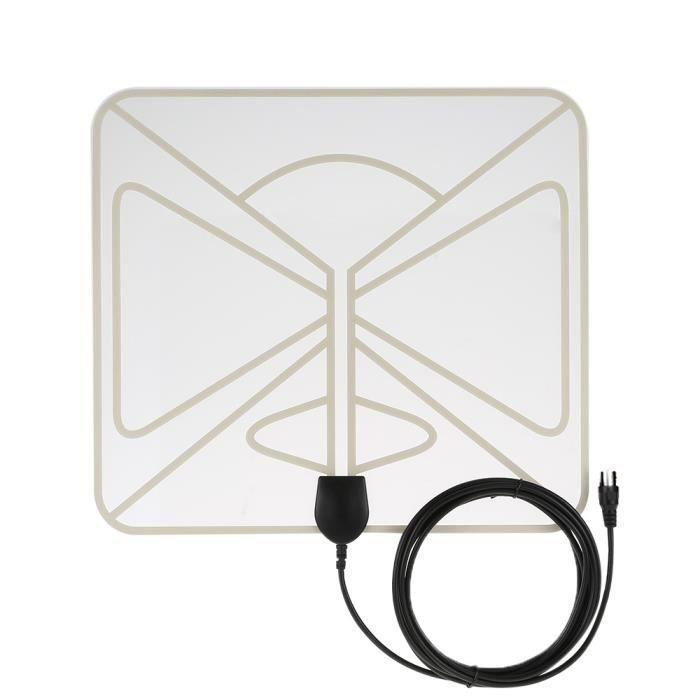 TV HD numérique Antenne intérieure HDTV High Gain 35 Miles Plage ATSC DVB ISDB avec 10ft haute performance câble coaxial