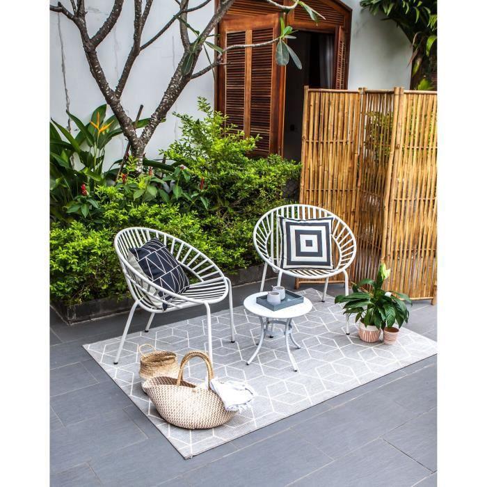 OPOA Salon de jardin 2 places - 2 fauteuils et une table basse en métal -  Blanc