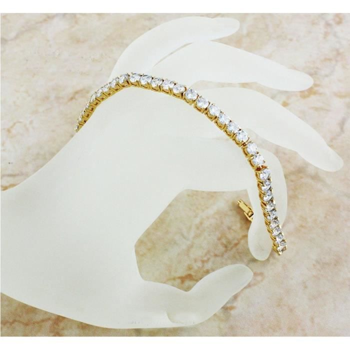 Womens 12.00 Ctw 4 Mm Clear Diamonique Cz 18k Gold Plated Tennis Bracelet YNCX0